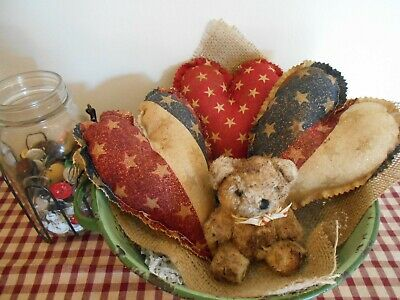 PRIMITIVE Americana Grungy Hearts and MINI bear: Bowl fillers/Cupboard tucks 7