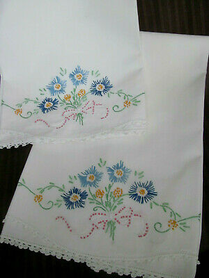 Pair~Vintage White Cotton Pillowcases w/Embroidered Flowers Bows~Crocheted Lace