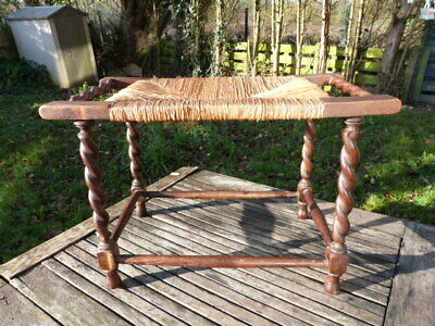 Lovely Antique Oak Reed Top  Barley Twist Footstool Stool.