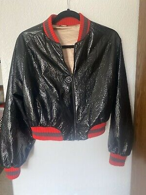 Zara Girls Black With Red Cuff Bomber Jacket MidWeight Zip Front Size M 10/12