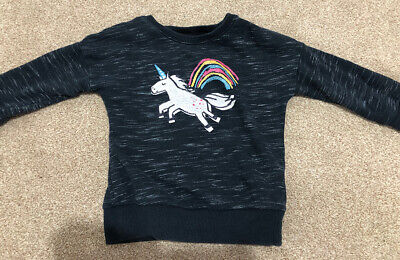 NEXT Dark grey Unicorn printed jumper - Age 18-24 months