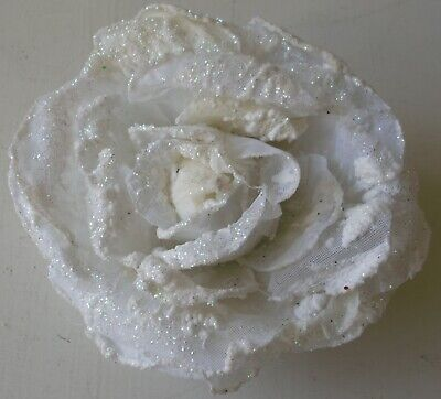 Glitter Edge Rose Flower Hair Corsage/Fascinator with Clip