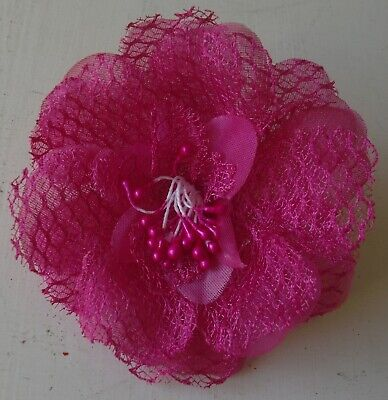 Glitter Edge Rose Flower Hair Corsage/Fascinator with Clip and Pin