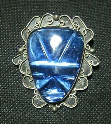 Vintage VALENCIA 925 Sterling Silver Scarab Brooch Pendant Blue Glass Art Deco