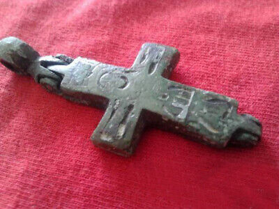 Encolpion sealed ancient original Antique Bronze Enamel Cross Crucifix - 13.1g