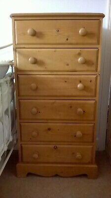Vintage Look Pine Tall Chest Of Drawers Tall Boy. 6 Drawers