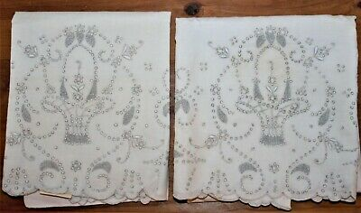 2 Vintage Madeira White Cotton Basket Queen Pillowcases Hand Embroidery Cutwork