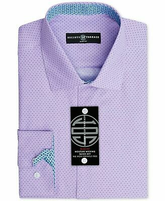 Society of Threads Mens Dress Shirt Purple Size 14 1/2 Slim Fit Dotted $50 089