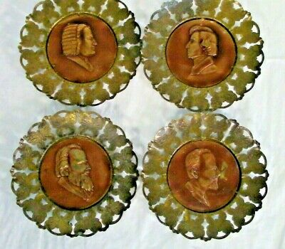 Brass Vintage Wall Plaques of Famous Music Composers (set of 4)
