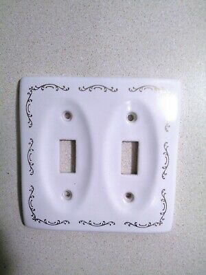 Vintage White Porcelain Double Switch Plate Gold Detailing 1980s