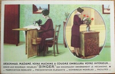 Singer Sewing Machine 1920s Art Deco French Advertising Postcard-Woman & Flowers
