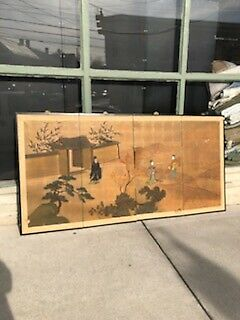 Antique Chinese Or Japanese Beautifully Painted Folding Screen Rough Condition