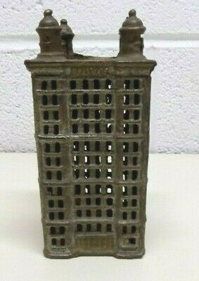"Vintage Cast Iron Skyscraper Coin Bank Building 5 1/2"" Tall w/ 4 Turret Towers"