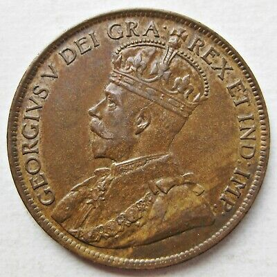 Nice Canada 1913 King George V Bronze Large Cent Coin (Km# 21)