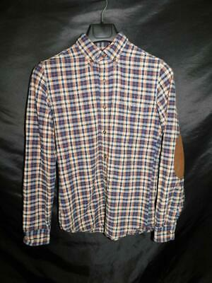 J. Crew XS Mens Blue Brown Plaid Rugged Elbow Patch Shirt Cotton Button Down XS