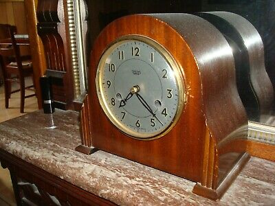 Vintage Smiths Enfield Wood Case Mantle Clock with Key for Repair