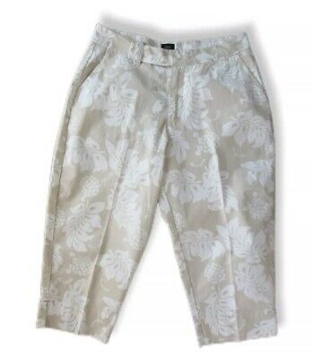 Riveted By Lee Khakis Womens Floral Capri Cropped Pants Size 14 M Cream White