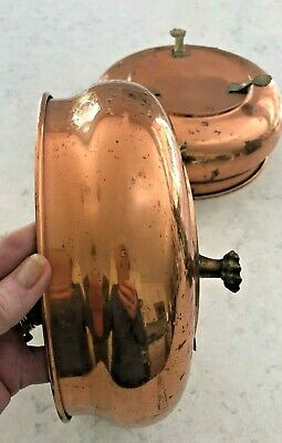 """2 Vintage Copper Plant Bowls With Brass Feet 8 Wide By 3 3/4"""""""