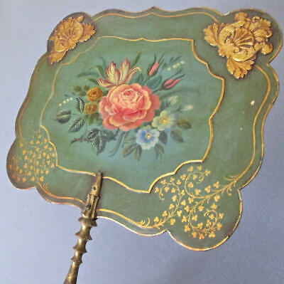 Antique FRENCH Fire FACE Screen HandHeld FAN Hand Painted FLOWERS w GILT Accents