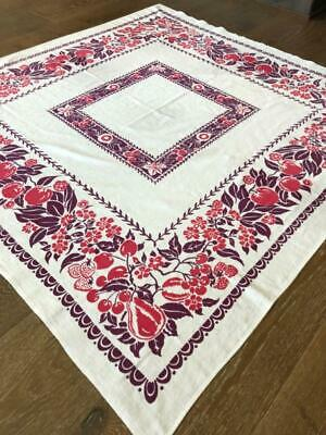 """TABLECLOTH 47"""" x 45"""" sq MAROON & RED on WHITE 1940s-1950s"""
