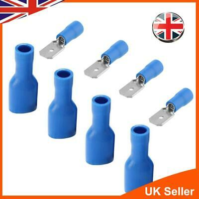 100X Spade Fully Insulated Crimp Terminals Splice Blue Electrical Audiowires UK