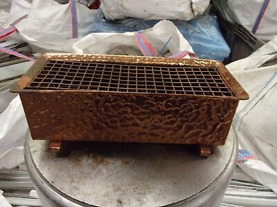 Copper Planter Mitchel Rose Trough with Grid 1960s (Flower Frog) Hammered Copper