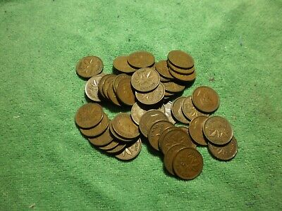 1940 Canadian circulated small cent roll 50 coins no junk George VI