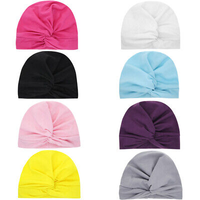 Newborn Kids Girls Beanie Cap Knotted Headband Cute Baby Hat Toddler Turban