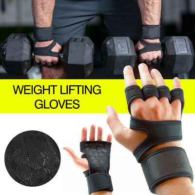 Fitness Training Weight Lifting Leather Gel Gloves Cross fit Body Building Man