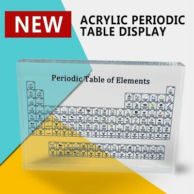 Clear Acrylic Periodic Table Display of 83 Real Elements Gifts