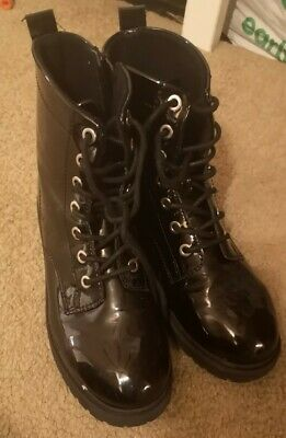 Girls Women's Black Patent DM Style Boots, Size 3, H&M, LACE UP AND ZIP UP