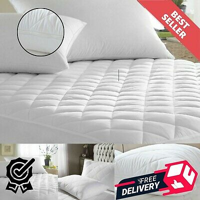 """Luxury Cotton Rich Extra Deep 30Cm Quilted Mattress Protector 16"""" Cover All Size"""