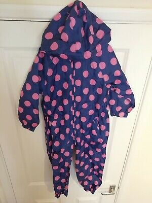 Tu Sainsburys Girls Age 4-5 Splash Suit Rain Jacket All In One snow wet weather