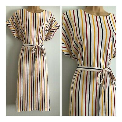 Vintage 80's White Red Blue & Mustard Stripe Print Belted Day Dress Size 16-18