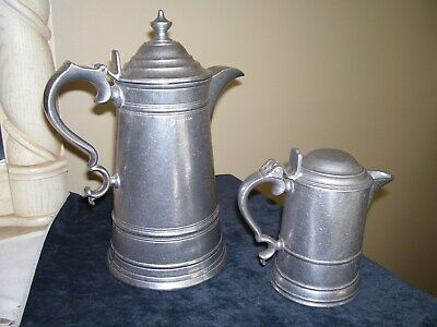 Vintage Wilton Rwp Armetale Pewter Flagon Large Coffee Pot And Creamer Pitcher