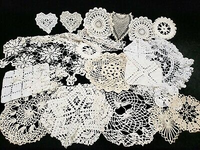"""20 Vintage Antique Hand Crocheted Doily Tablecloth White 3.5-15"""" Wedding Crafts"""
