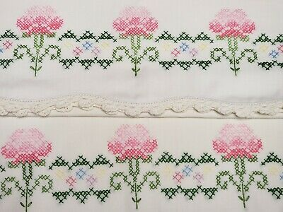 Vintage Pillowcases Hand Embroidered Pink Flowers 1950s Era Estate Sale Find