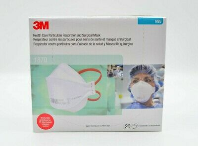 Box of 20 Ct 1870 N95 RESPIRATOR SURGICAL FACE MASK CoronaVirus FILTERS WRAPPED