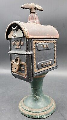 Antique 1880s Cast Iron US Bank Still Coin Bank Box on Pedestal W/Original Paint