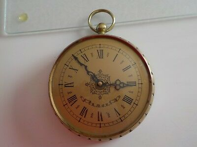 Vintage Large Brass Pocket Watch Style Clock  Made in FRANCE