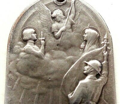 SAINT MICHAEL - JOAN OF ARC - MARY & JESUS - WWI 1918 ANTIQUE ART MEDAL by BAZOR