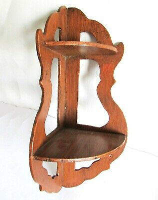 "2 Tier VTG Wood Scroll Cut Work Corner Curio Wall Display Shelf 18.25"" FREE SH"