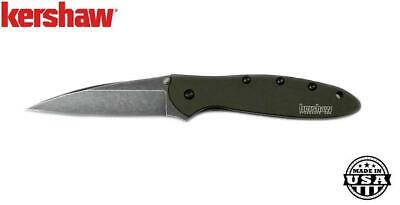 New Exclusive Kershaw Leek Folding Knife, BlackWash Blade w/ OD Handle 1660OLBW