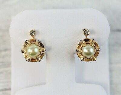 Vintage Mid Century 19.2K Yellow Gold Pearl Dangle Earrings Atomic Luxury