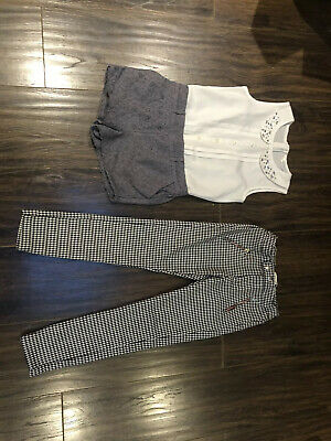 Girl's Zara Dogtooth Trousers & Matalan All In One Short Suite Age 8 Years