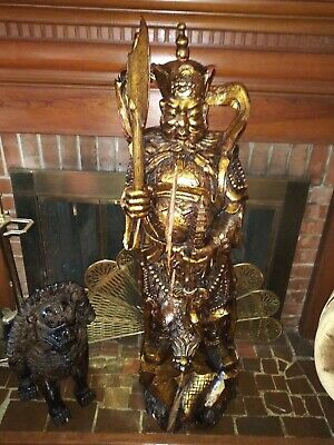Large Hand Carved Wooden Chinese Statue 3/12 Feet