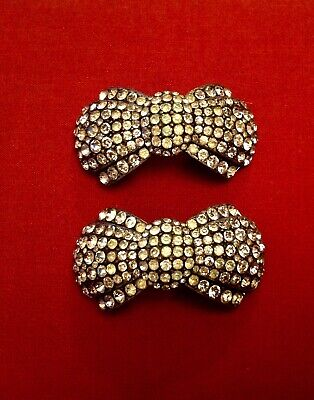 VINTAGE PAIR OF BUCKLES RHINESTONE BOW SHAPED SHOES CLOTHING ART DECO C1930s