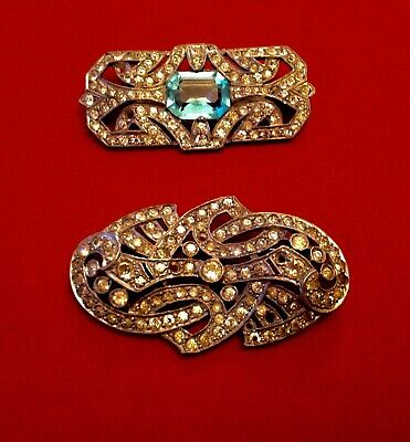 VINTAGE 'DEPOSE' BROOCHES X 2 RHINESTONE ART DECO FRENCH C1930s A/F