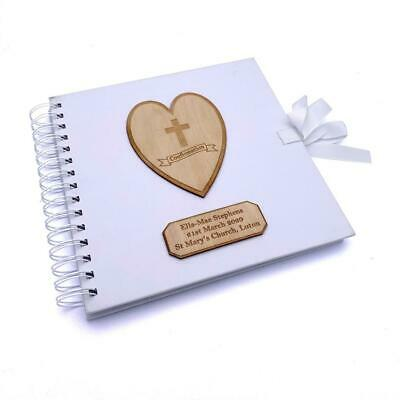 Personalised White Confirmation Guest Book With Wooden Engraving