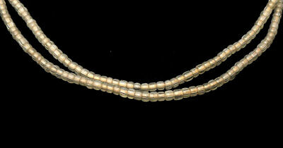 Gooseberry Venetian Trade Beads Striped Translucent African 29 inch